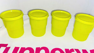 Tupperware 8 oz Tumbler Cups Stackable With Lids Lime Yellow Set of 4