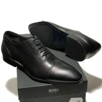 HUGO BOSS ITALY Black Leather Captoe 7 40 Mens Pebbled Oxford Dress Derby Casual