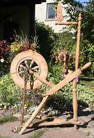 Antique primitive wooden spinning wheel, 19th century