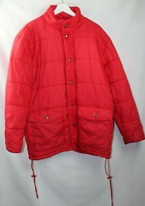 Vintage Cobles Men's Red Padded Warm Puffer Jacket With Concealed Hood Medium