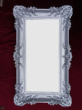 Baroque Wall Mirror Silver 96x57 Antique Rococo Luxurious Bathroom Deco
