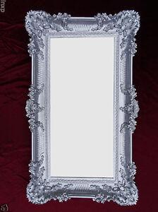 Baroque Wall Mirror Silver 96x57 Antique Rococo Luxurious Bathroom Deco