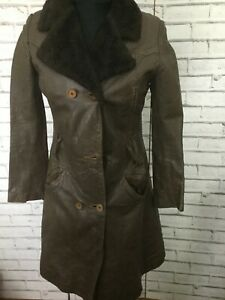 Vintage 1970 Long Leather Fleece Lined Collar Trench Coat  8-10