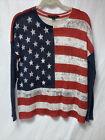 Rock & Republic Womens Sweater Sz L Flag Patriotic Americana Lightweight Soft
