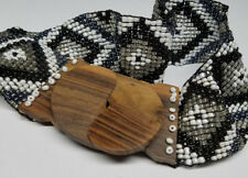 BEADED WOODEN STRETCH ELASTIC BELT WOMEN LADIES FASHION Black & Silver US SELLER