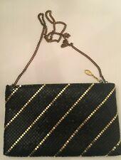 Vintage Art Deco Black Gold Mesh Bag Evening Shoulder Bag Gold Chain Zip Closure
