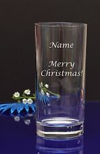 Personalised Any text Engraved Hi ball Tumbler Merry Christmas, Birthday Glass