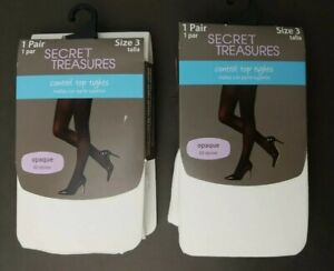 Secret Treasures Control Top Tights Opaque White Size 3 NWT Lot of 2