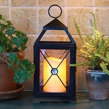 Battery Operated Mission Style Table Decor Ambient Lantern LED Pillar Candle