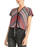 Rachel Rachel Roy Women's Blouse Black Size Small S Stripe Tie Back $79- #219