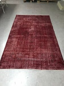 Antique Red Overdyed Turkish Carpet,Floor Bohemian Vintage Rug,Handwoven Rug