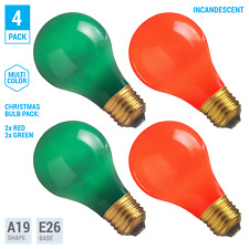 (4 Pack) CHRISTMAS LIGHT BULBS Incandescent 25W Green and Red Color A19 120V E26