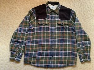 Field/Stream Sherpa-lined Flannel Shirt/Jacket OliveGreen/Brown/White/Orange - L