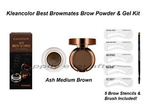 KLEANCOLOR BEST BROW MATES BROW POWDER & GEL KIT, Waterproof, ASH MEDIUM BROWN