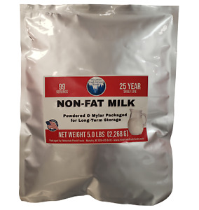 5 lbs Non-Fat Powdered Milk in Mylar for Emergency Food Supply Survival