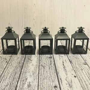 Garda Tealight Candle Lantern for Home & Garden (Set of 5) in French Grey