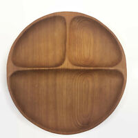 "Wood Divided Tray Dish Serving Platter Teakwood Mid Century Modern 10"" Vintage"