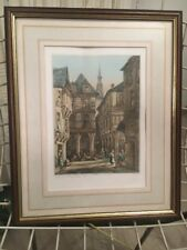 Ancienne Gravure Reproduction D Estampe La Place De L Horloge A Dinan 1836
