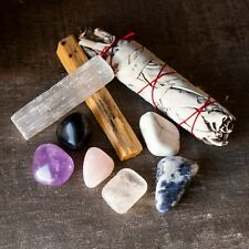 Crystal Set For Rest & Relaxation - Tumbled Stones, Sage, Palo Santo, Selenite