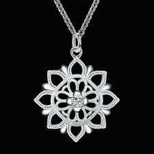 New 925 Sterling Silver Zircon Hollow Flower Pendant Women Necklace 18inch