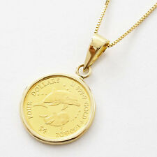 """24K Fine Gold 1/30oz Cook Islands $4 Dolphin Coin Pendant 10K Gold Chain 17.75"""""""
