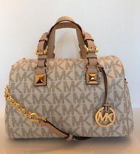 Michael Kors Grayson Handbag Signature Vanilla Satchel Doctor Gold Chain Medium