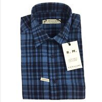 RM Williams Mens Bundaleer Short Sleeve Shirt Linen Blend Blue Plaid Size S NEW