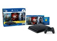 PlayStation 4 Slim (1TB) Console PS4 Hits Bundle God Of War, GTSport, Uncharted4