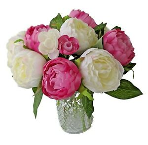 Artificial Peony Flowers with Vase - Pink / Ivory Colors