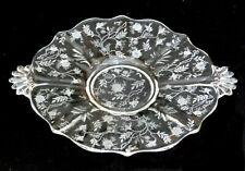 FOSTORIA etched BAROQUE 2496 round handled PLATTER glass CHINTZ 338