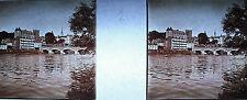Stéréoscopique photographie Pont du 14 juillet à Pau sur le Gave de Pau c1920