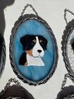 Stained Glass Art Suncatcher Swiss Mountain Dog Blue R