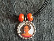 Elena of Avalor Latina Princess Ribbon Bottle Cap Bling Charm Necklace Beads
