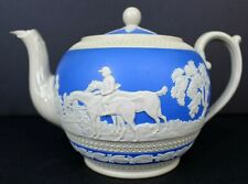 Vintage Spode Copeland Jasperware Blue & White Teapot Fox Hunt