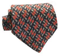 "VTG SULKA Men's Tie Arrows Thru Hearts Pattern Red/Black 100% Silk 4"" Wide Mint"