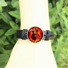 Guitar Birthday Black Bangle 20 mm Glass Cabochon Leather Charm Bracelet