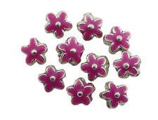 Rosa Smaltato Fiore Di Metallo Argento Perline 15 mm Confezione da 10 (D13/3)