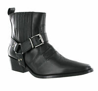 Gringos Low Clive Cowboy Western Leather Pull On Harness Mens Ankle Boots UK6-12