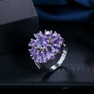 High Quality Amethyst Dating Women Lady Gilrs Mother Gifts Wedding Silver Ring