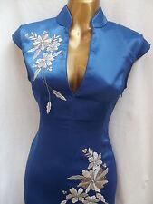 Oriental CHINESE Royal Blue Long dress 8