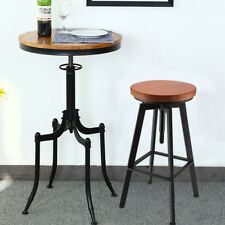 Vintage Bar Stool Metal Wooden Industrial Retro Seat Kitchen Pub Counter Home
