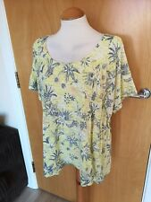 Ladies M&S Top Size 22 Yellow Stretch Casual Smart Floral