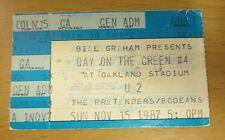 1987 U2 CONCERT TICKET STUB DAY ON THE GREEN OAKLAND PRETENDERS JOSHUA TREE BONO