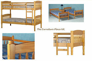 ALBANY PINE BUNK BED SPLITS IN TWO BEDs fits 3ft Mattress