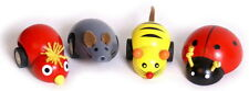 4 off PULL BACK WOODEN SMALL RACING ANIMALS SET PARTYBAG GIFT LADYBIRD MOUSE ETC