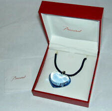 Authentic BACCARAT Light Blue Crystal Glamour Heart Sterling Silver Necklace NIB