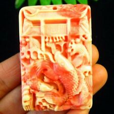 Carved Red White Man-Made Turquoise Goldfish Oblong Pendant Bead Q84055