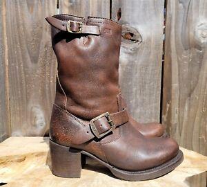 Frye Brown Leather 76295 Vera Short Engineer Moto Boots Women's sz 6.5