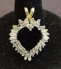 Natural Genuine Diamond and 14K Yellow Gold Heart Pendant