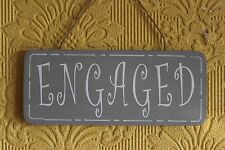 Lovely Decorative Handcrafted Wooden sign ENGAGED / VACANT (White on Pale Gray)